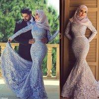 özel günler giysileri toptan satış-Uzun Kollu Tam Dantel Müslüman Abiye 2019 Mermaid Eşarp İslam Dubai Suudi Arapça Abiye Özel Occassion Elbise