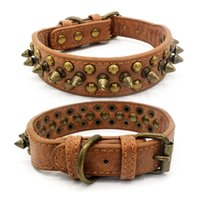 Wholesale extra large dog collar leather mastiff resale online - PU Leather Pet Collar Adjustable Studded Rivet Dog Collar For Small Medium Large Dogs Durable Pet Supplies Pitbull Mastiff Bully