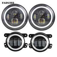 7inch Jeep LED Headlights with White DRL Amber Turn Signal + 4 inch LED Fog Lights with White DRL Halo Ring for Jeep Wrangler 97-2017 JK LJ