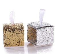şeker düğün lehim kutuları gümüş toptan satış-Düğün Favor Kutusu Düğün Çikolata Şeker Kutuları Gümüş / Altın Glitter Konuk için Hediye Kutusu