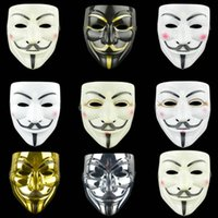 vendetta partie masque halloween achat en gros de-7 Style Party Masques V pour Vendetta Masque Anonyme Guy Fawkes Fantaisie Costume Adulte Accessoire Party Cosplay Halloween Masques Masque de danse de rue