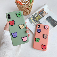 Wholesale samsung cases bear online – custom Cuddly colorful bear stereoscopic case for iphone xr xs max x cover candy jelly cute bear fundas for iphone s plus coque