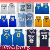 31 baloncesto al por mayor-NCAA Jimmer 32 Fredette Brigham Young Cougars College Basketball Jersey University Campus bear UCLA Russell 0 Westbrook Reggie 31 Miller