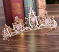 Wholesale beaded hair tiaras resale online - New European Diamond Bride Crown Hand Beaded Crystal Headdress Hair Hoop