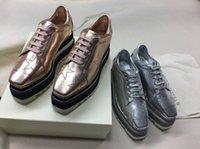 cunha de renda para mulher venda por atacado-2018 NEW Stella Mccartney Womens bezerro Genuine plataforma de couro sapatos casuais Cut-outs Star Oxfords listras cunha Elyse Lace-up Sneaker