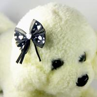 trajes de colores de navidad al por mayor-Perro de mascota lindo Arcos de pelo Encaje negro corazón cristal suministros para mascotas Boutique Puppy Pet accesorios para el cabello