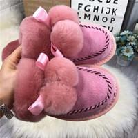 sevimli pembe çizmeler toptan satış-2019 Avustralya yeni tüy yumağı bayanlar Baotou mobilya terlik yün moda sevimli süper kalın sıcak pamuk botlar