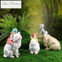 Wholesale tales figure resale online - Nordic Fairy Tale Elf Decoration Ornament Cat Girl Figure Statue Home Decor Furnishings Resin Art Crafts Creative Wedding Gift