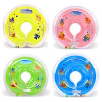 flotador inflable de la nadada del bebé al por mayor-Baby Bath cuello de la natación Flotador inflable círculo de seguridad ajustable Sida natación del bebé del anillo del cuello del bebé Accesorios para Piscinas