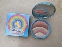 palette cuite achat en gros de-Ombre à paupières Rainbow Make Up Palette de fard à paupières Highlight Rainbow Cuit au four Blush Visage Couleur Fard à Paupières Beauté Fille