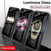 iphone cubierta spiderman al por mayor-Luminosa Marvel Spiderman veneno de la caja del teléfono animado vidrio templado para el iPhone 11 XS XR 8 7 6 Plus Anti-cero TPU cubierta trasera del caso