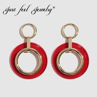 ingrosso resina sentita-JUST FEEL 2019 Trendy Chic Summer Resin ciondola orecchino a goccia per le donne rotonda geometrica rossa acrilico metallo orecchino gioielli di moda