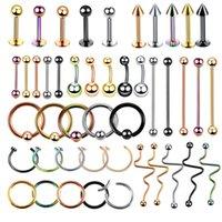 kertenkele kulakları toptan satış-1 adet Çelik Belly Button Piercing Kulak Çiviler Segment Yüzük Burun Halkası Dudak Kaş Piercing Endüstriyel Halter Vücut Takı Piercing