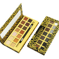 Wholesale leopard palette for sale - Group buy Leopard color Eyeshadow Palette Matte eye shadow with Mirror double head Brush Natural make up Hot new