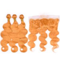 cierre de pelo virgen europeo al por mayor-Body Wave Orange Hair Bundles con encaje Frontal cierre Orange European Hair teje 8A Grade Virgin Hair Bundles con Frontal 4Pcs / Lot