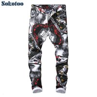 Wholesale drawing patterns jeans resale online - Sokotoo Men s fashion D pattern slim fit straight printed jeans Trendy white black colored drawing stretch denim pantsMX190905