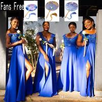 afrikanischen königlichen blauen schnürsenkel großhandel-Afrikanische Mädchen Lange Royal Blue Front-Split A Line Cocktailkleider plus Größe nach Maß Spitze Appliqued wulstige Mädchen der Ehre Kleider