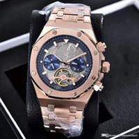 royal braune uhren groihandel-2019 Luxusuhren ROYAL 26347 Edelstahl Tourbillon Brown Openwork Dial Automatic Herrenuhr Sapphire Luminous New Model Man Uhren