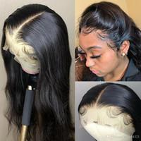 perruques de dentelle de soie brésilienne achat en gros de-Silky Straight Straight Soie Base Lace Front perruque de cheveux humains Brésilienne Vierge Cheveux Top Soie Full Lace Wig Avec Baby Hairs
