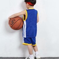 Wholesale army blue suit resale online - Kids Clothing Sets Curry Student Boys Girls Baloncesto Sports Children Lebron Leonard Basketball Jerseys Suits Shirts Shorts cm XZT034