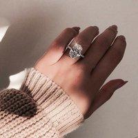 gümüş oval ring erkek toptan satış-Klasik Kadın yüzük 925 Ayar Gümüş Oval kesim 3ct Elmas Nişan düğün band yüzük kadın erkek Takı için Hediye