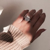 925 ovale männer schellen großhandel-Klassische weibliche ring 925 sterling silber oval cut 3ct diamant engagement hochzeit band ringe für frauen männer schmuck geschenk