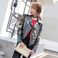 jaqueta de couro para vestuário feminino venda por atacado-Mulheres Fahion Jacket Coats Estrela Inverno Estilo Pu roupas Bordado Locomotive Couro Mulher Casaco de couro