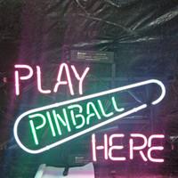 sinais de neon de pinball venda por atacado-JOGUE PINBALL AQUI Neon Sign Holiday Display Publicidade Decoração Personalizado Montado na Parede Real de Vidro Luz Moldura de Metal 17 '' 20 '' 24 '' 30 ''