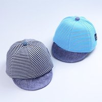 плоская шляпа младенца поля оптовых-Baby Children Kids Boy Girl Stripe Short Brim Flat Casquette Hat Sun Protection Cap Fashion Causal