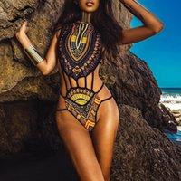 etnik mayo toptan satış-Seksi aşiret mayo kadınlar yastıklı sütyen bikini mayo Bikinx Afrika baskı bikini seti Etnik mayo kadın Büyük boy