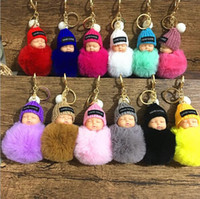Wholesale fur keychain car resale online - Sweet Fluffy Pompom Sleeping Baby Key Chain Faux Rabbit Fur Pom pon Knitted Hat Baby Doll Keychain Car Keyring Toy MMA2409