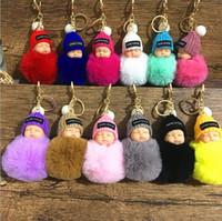bebekler için tavşan oyuncakları toptan satış-Tatlı Kabarık Ponpon Uyku Bebek Anahtarlık Faux Tavşan Kürk Pom pon Örme Şapka Bebek Bebek Anahtarlık Araba Anahtarlık Oyuncak MMA2409