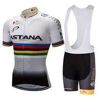 jerseys shorts astana al por mayor-2017 White Astana Team Summer Pro Sporting Racing Uci World Tour Ciclismo Jersey 9d Pad Shorts de bicicleta Ropa Ciclismo Wear