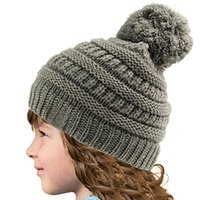 Wholesale boys army hats resale online - Kids Pom Pom Beaies INS Winter Knitted Hat Warm Wool Hat Ladies Skull Beanie Solid Children Knit Outdoor Caps baby LJJA2782