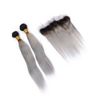 черный серый омбре переплетения оптовых-Ombre черный и серый прямые волосы ткет расширение с верхней фронтальной части двойной утка прямые 1b серые волосы 3Bundles с кружевом фронтальной