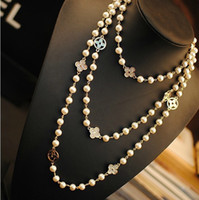 Wholesale simulated pearls for sale - Group buy Designer Necklace Long Sweater Chain Colar Maxi Necklace Simulated Pearl Flowers Necklace Women Fashion Jewelry bijoux femme CNY961