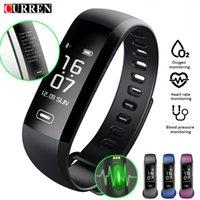 pulso led de relógio inteligente venda por atacado-Curren M2 R5 Pro Inteligente Pulseira de Fitness Rastreador Pulseira de Freqüência Cardíaca Relógio de Pressão Arterial Medidor de Pulso de Sms De Oxigênio Chamada Esporte Banda MX190716