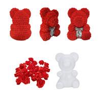 teddy tag geschenk großhandel-2019 Styropor Styropor Weiß Schaum Bär Form Künstliche Blüte Rose Teddy Valentinstag Geschenke Party Hochzeit Dekoration