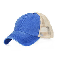 Wholesale korean cap woman for sale - Group buy 2020 trend to do old washed cotton solid color light plate mesh cap baseball cap men and women Korean version spring and summer