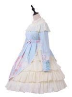 pamuk tek parça elbiseler toptan satış-Lolita Tek Parça Elbise Baskılı Yay Inci Pamuk Mavi Lolita OP Elbise Ile Ruffles