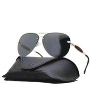 envoltorios gafas de sol envolver al por mayor-Diseñador de lujo polarizado gafas de sol para hombre 2019 Tenis Metal Wrap Hombre Anteojos Deporte Conductor Piloto Hombres Gafas de sol UV400 Con el logotipo de la caja