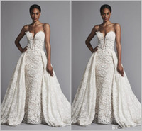 Wholesale pnina tornai lace mermaid wedding dress resale online - 2019 Pnina Tornai Mermaid Wedding Dresses With Overskirts Spaghetti Lace Bridal Gowns Sweep Train plus size Black African Wedding Dress