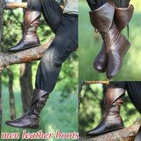 плоские пиратские ботинки оптовых-Высокое качество Мужчины Средневековая готическая Pirate Фэнтези Boots Повседневный Винтажная Мужской кожаный Lace Up колено высокие сапоги Квартиры Обувь Плюс Размер