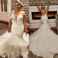 Wholesale feather trumpet wedding dress resale online - 2020 Sexy Plus Size Mermaid Wedding Dresses With Feather Lace Appliqued Cascading Ruffles South African Lace Backless Bridal Gowns