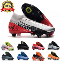 cr7 sapatos ao ar livre venda por atacado-Mens SG Futebol chuteiras Metal Studs Cinza Cheques Superfly Elite Neymar High Top Outdoor chuteiras Ronaldo CR7 Mercurial futebol Botas D0805