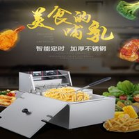freidoras comerciales al por mayor-Acero inoxidable profundo de la freidora eléctrica comercial cocina casera de patatas chips, Cooker
