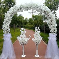 ingrosso arco del fiore del metallo-Matrimonio di lusso centro pezzi Metal Wedding Arch Door Hanging Garland Flower Stand con fiori di ciliegio per il fondale di nozze Prop