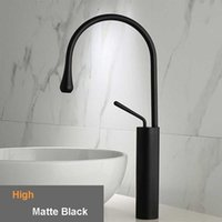 Wholesale chrome ceramic basin handles for sale - Group buy Bathroom Basin Faucet Brushed Gold Basin Mixer Tap Deck Mounted Single Handle Kitchen Faucet Swivel Spout Water Tap for Kitchen