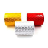 gelbes klebeband großhandel-5 CM x 3 Mt Reflektierende Fahrrad Aufkleber Selbstklebende Sicherheitswarnzeichen Reflektierende Band Weiß Rot Gelb Lkw Fahrrad Aufkleber aufkleber