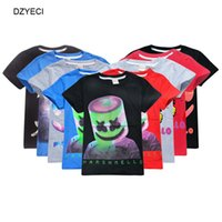 musica camiseta dj al por mayor-Marshmello DJ Música Camiseta Para Big Boy Girl Tee Ropa Verano Imprimir Algodón Boutique Top Niños Máscara Fornite Camiseta